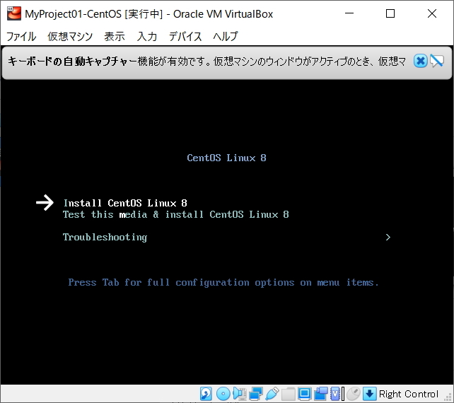 Install CentOS Linux 8 を選択